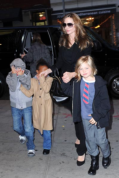 Angelina Jolie takes Shiloh, Zahara and Pax to the movies on the East Side of Manhattan. Pictured: Angelina Jolie, Shiloh Jolie-Pitt, Zahara Jolie-Pitt and Pax Jolie-Pitt Ref: SPL340165  031211   Picture by: A. Ariani / Splash News Splash News and Pictures Los Angeles:310-821-2666 New York:212-619-2666 London:870-934-2666 photodesk@splashnews.com   ALL OVER PRESS