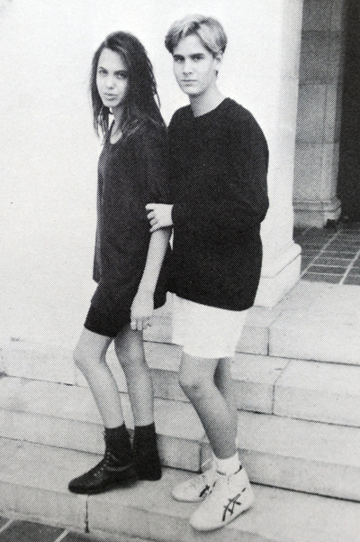 EXCLUSIVE: LOS ANGELES, CA. JUNE 5, 2012. In an echo of her famous leg flash at this year's Oscars, Angelina Jolie, aged 13 or 14,  poses with her good friend Chris Landon, the son of actor Michael Landon, and the pair get voted as having the 'best legs'. CREDIT LINE MUST READ: Coleman-Rayner Tel US (001) 310-474-4343 - office www.coleman-rayner.com   All Over Press