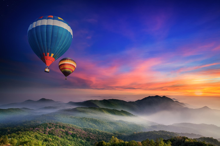 Doi Inthanon National park in the sunrise and main road at Chiang Mai Province, Thailand